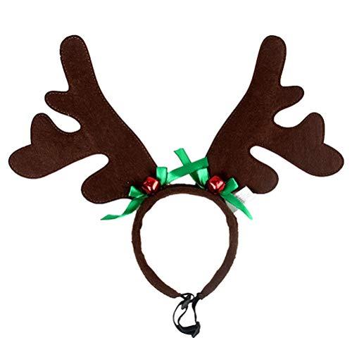 BESTOYARD Diadema Cuernos para Mascota Reno Cuernos Ciervo Disfraz Perro Decoracion Navidad