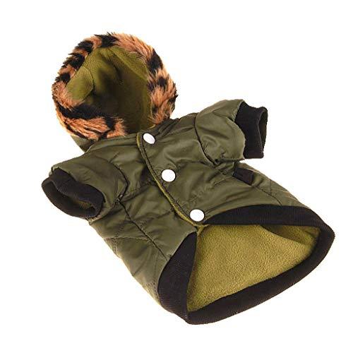 JOYKK Donkergroene mantel voor hond met capuchon fleece voering en mouwsluiting haak wild