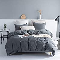 Johnpey Solid Color Soft and Breathable Duvet Cover Set with Zipper Closure (Dark Grey)