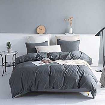 Johnpey Solid Color Soft and Breathable Duvet Cover Set