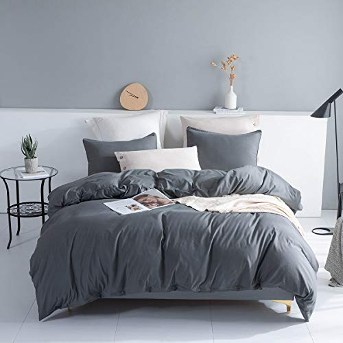 JOHNPEY Duvet Cover Full/Queen Size with Zipper Closure Grey, Ultra Soft Washed Microfiber 3 Pieces (1 Duvet Cover + 2 Pillow Shams), 90x90 inches