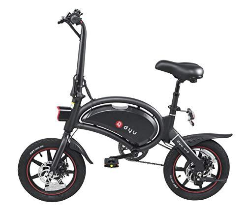 Bicicleta Eléctrica Plegable Adulto Dyu D3 +, Cuerpo de Aluminio, Neumáticos 14', Kilometraje 25 Km/hy 40 Km, Larga Distancia de 70 km Bici eléctrica con Frenos de Disco Doble, App Controlled