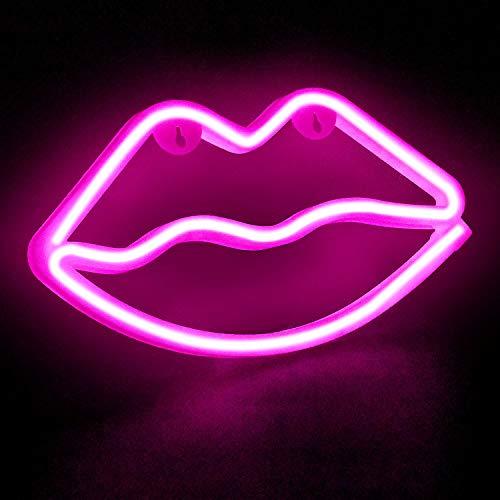 FGen Insegna Luminosa Neon Luci, Neon Decorative, Luce Notturna USB a Forma di Labbra con Decorazioni a Forma di Labbra, per la Festa di Complea (Rosa)