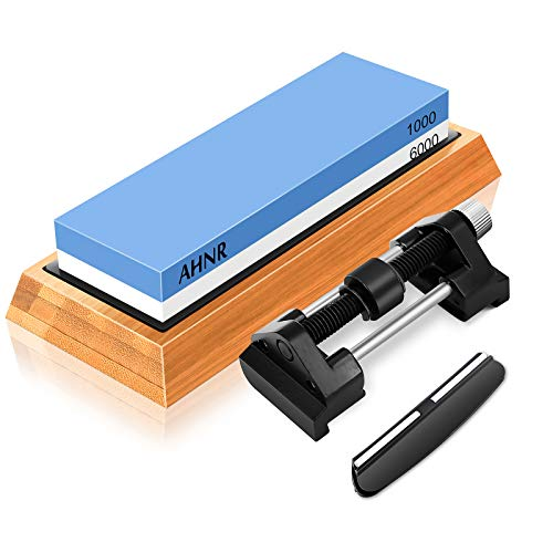 Whetstone Knife Sharpening Stone Set 1000/6000 Waterstone, Honing Guide Jig for Chisel Honing and Planer Blade Sharpening, AHNR Professional Whetstone Knife Sharpener Kit with Bamboo Base, Angle Guide