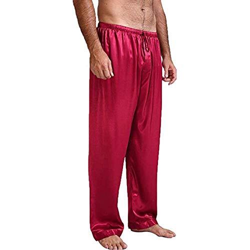 douleway Pantalon Bas de Pyjama en Satin de Soie Vêtements de Nuit Classiques pour Hommes