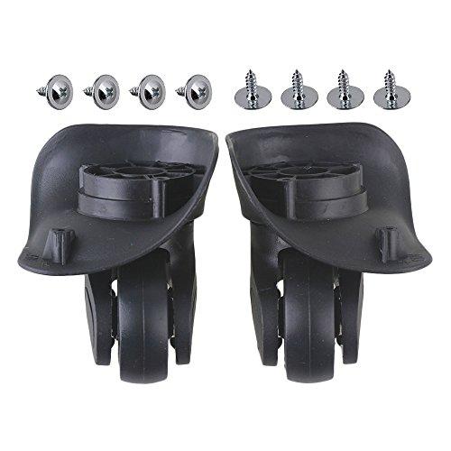 BQLZR 9,6x9,3x4,8cm noir en plastique bricolage gauche et droite pivotant bagages valise roulettes avec 4 trous