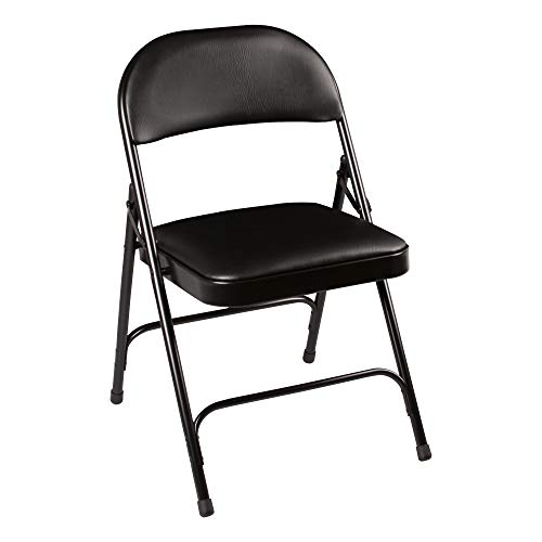 School Outfitters NOR-SRO593-VBK-SO Norwood Commercial Furniture 6600 Series Folding Chair with Vinyl Upholstered Seat and Back, Black (Pack of 4)