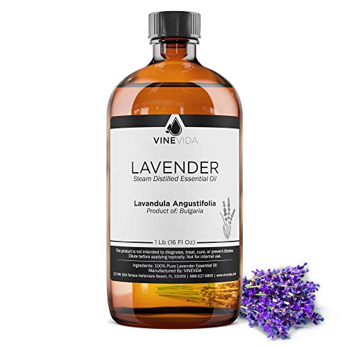 Bulk Lavender Essential Oil - 16 Oz Lavender Essential Oil in Glass Bottle - 100% Pure & Undiluted Essential Oil - 1 Pound Lavender Oil for DIY Soaps, Candles, and Blends - VINEVIDA