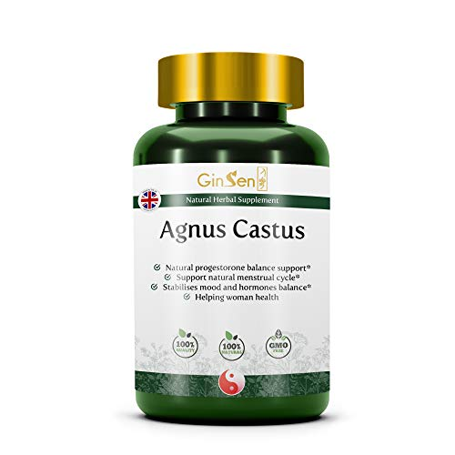 GinSen Vitex Agnus Castus, Support PMS & Menopause, Natural chasteberry Supplement for Balances Hormones, Irregular Periods, Traditional Chinese Medicine Made in The UK (50 Grams)
