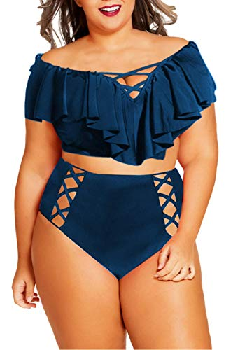 Sovoyontee Women Navy Blue Plus Size Ruffle Flounced High Waisted Swimsuits Swimwear 2XL 16