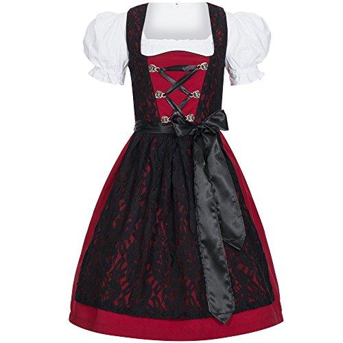 Gaudi-Leathers Damen Dirndl Kleid Dirndlkleid Trachtenkleid Midi Lilly rot mit Spitze 40
