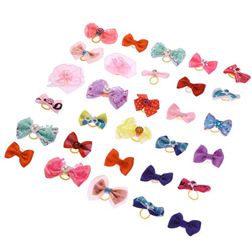 POPETPOP 30Pcs Dog Bows for Small Dogs Hair,Yorkie Puppy Hair Bows with Rubber Bands-Pearls-Handmade Lace Fabric, Cute Pet Small Dog Hair Bowknot Topknot Grooming Accessories (Random Pattern)