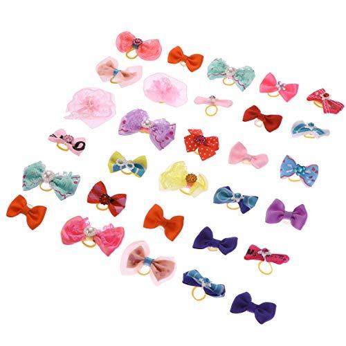 Popopopp Hundeschleifen für kleine Hunde, mit Gummibändern, Perlen, handgefertigt, Spitzenstoff, süßes Tierhaar, Schleife, Topknot