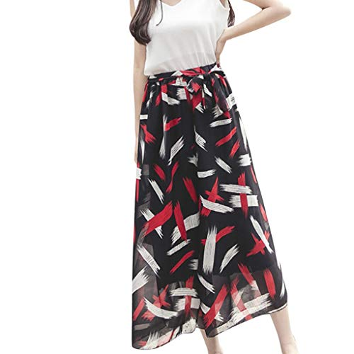 WOZOW Damen Weites Bein Palazzo Hosen Stoffhose Streifen Gestreift Muster Print Bedrucktes High Waist Casual Loose Lose Lang Long Tutu Anzughose Riemchen Swing Crop Trouser (S,Schwarz)