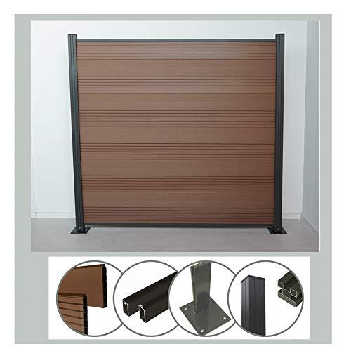 Steckzaun Komplettset WPC Zaun Sichtschutz (Höhe 185 cm/Breite 180 cm) mit Pfosten (1950 mm) zum Aufdübeln braun (Serie WoodoTexel) (1 x Zaun + 2 Pfosten + 2 Pfostenträger)
