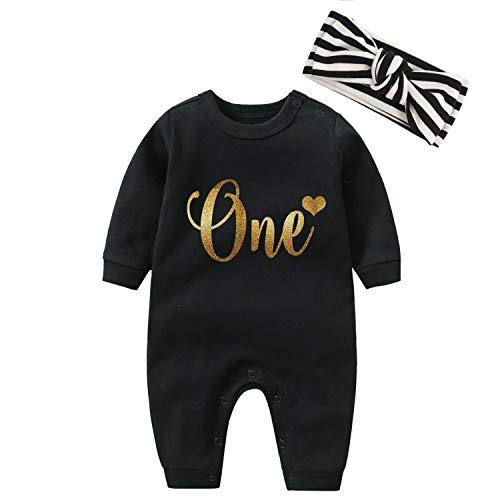 YSCULBUTOL Conjunto de diademas para bebé con diseño de gemelos de oro, para cumpleaños, para niña - negro - 0-3 meses