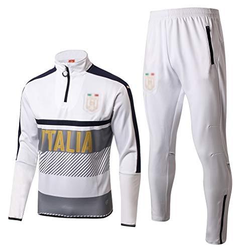 No-brand Italien Football Club langärmelige Sport Weiß Breath Fußball-Training kleidet-dd065 (Color : White, Size : L)
