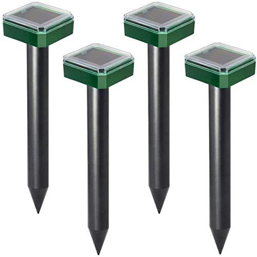 Parsion 4 Stück Solar Maulwurfabwehr, Ultrasonic LED Maulwurfschreck, Wühlmausvertreiber, Wühlmausschreck, Maulwurfbekämpfung mit IP56 für Den Garten