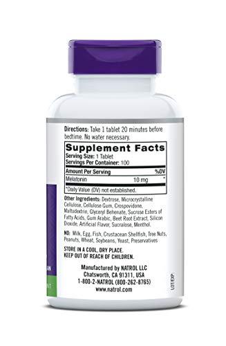 Tabletas de disolución rápida de melatonina Natrol, lo ayuda a conciliar el sueño más rápido, permanecer dormido por más tiempo, fácil de tomar, se disuelve en la boca, fortalece el sistema inmunológico, fuerza máxima, sabor a fresa, 10 mg, 100 unidades