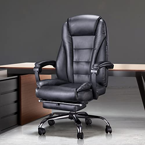 Hbada Ergonomic Desk Chair Executive Office Chair PU Leather Swivel Desk Chairs,Adjustable Height High-Back Reclining Chair with Padded Armrest and Footrest, Black