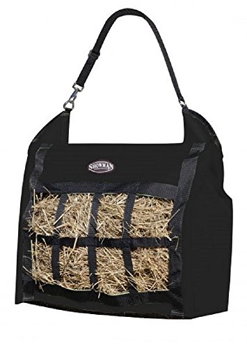 Showman Nylon Slow Feed Hay Tote Bag Heavy Duty Durable Easy to Fill and Carry (Black)