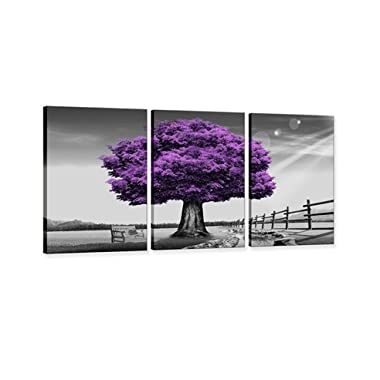 Hua Dao Art- WSA0910 Canvas Prints Purple tree Framed Canvas Wall Art for Home Decor Perfect 3 Panels Wall Purple scenery Decorations For Living Room Bedroom Office Each Panel (Purple)