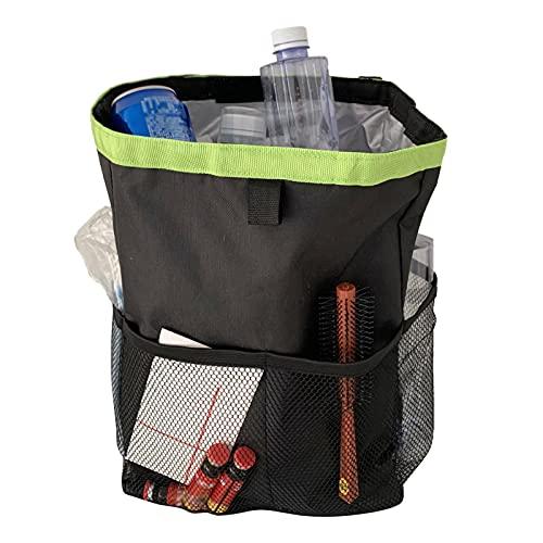 Shichangda Cubo de basura para coche con tapa, bolsa de basura para coche con bolsillos de almacenamiento, plegable y portátil