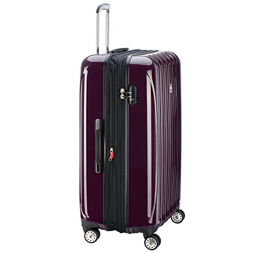 DELSEY Paris Helium Aero Hardside Expandable Luggage with Spinner Wheels, Plum Purple, Checked-Large 29 Inch