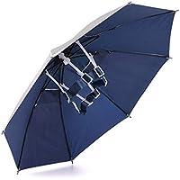 Head Umbrella Hat, Aire Libre Plegable Sombreros de Pesca Protección UV, Anti-Lluvia Sombrilla Adulto Paraguas Cabeza para Viajar, Plateada