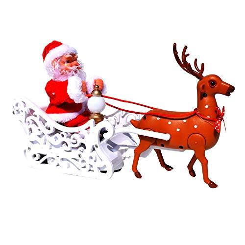 Neue elektrische Weihnachtsmann-Puppe kleine Hirsche Bollerwagen Musik Weihnachtsschmuck Geschenk Geschenke