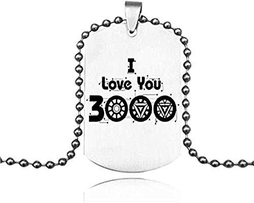 Collar de Moda Marvel Iron Man I Love You 3000 Collares Pendientes de Acero Inoxidable Grabar Nombre Etiqueta de Amor Collares Logotipo Personalizado Joyería