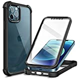 MOBOSI Compatible with iPhone 12 Case/iPhone 12 Pro Case, Shockproof Phone Case Full Body Rugged Bumper Protective Cover [Built-in Screen Protector] for iPhone 12/12 Pro 6.1', Black
