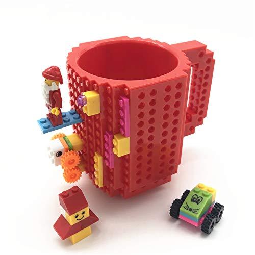 VANUODA Build-on Brick Mug, Tazza di caffè, Regalo per Uomini Lui Bambini Amici Bambini, Idea Regalo per Natale Pasqua Festa del papà Compleanno, Compatibile con Lego (Rosso)