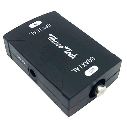 Whizzotech Toslink Optical to Coaxial Digital Audio Converter 24bit/192K HD Sampling