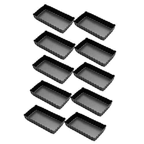 SODIAL Paquet de 10 Moules à avec Fond Amovible, Plat de Cuisson Rectangulaire Moule à Gateau AntiadhéSif pour Four et Cuisson Insta Pot