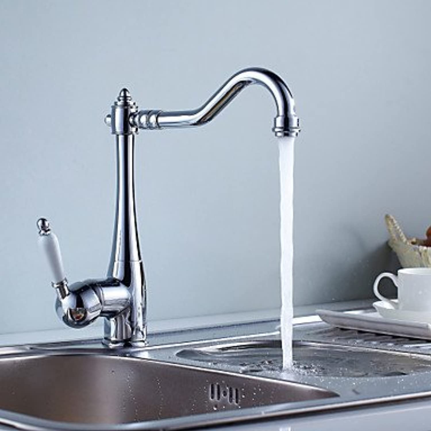 TSAR003 Contemporary Chrome Finish Single Handle Kitchen Faucet