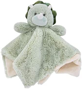 K Luxe Baby Security Blanket Lovey with Rattle Green Dinosaur product image