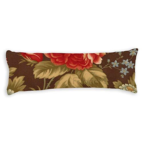 JamirtyRoy1 Funda de almohada para el cuerpo, diseño de flores de color marrón tostado con alas de crema y una funda de almohada de oración, funda de almohada supersuave con cremallera oculta, 50,8 x 137 cm de largo, algodón, Estilo 14., 20 x 54 Inch