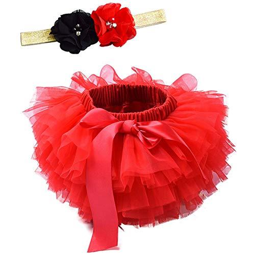 Happy Cherry - Falda Niña Bebé Tul con Cinta Flores de Pelo Fotografía Trajes Ropa de Fiestas Cumpleaños Boda Bautismo - 2-3 Años - Roja