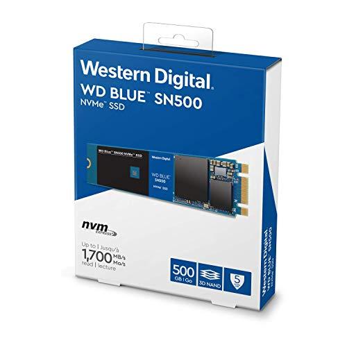 WD Blue SN500 PCIe NVMe SSD, M.2, Velocità di Lettura fino a 1700 MB/sec, 500 GB