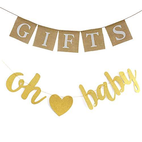 """Goldfarbene Glitzer-Buchstaben """"OH"""", rustikales Jute-Geschenk-Banner für Babyparty, Verlobung, Hochzeit, Brautparty, Junggesellinnenabschied, Ruhestand, Geburtstag, Partyzubehör, Dekorationen"""