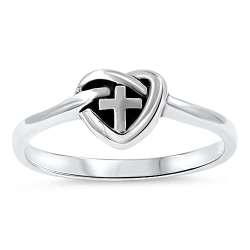 Oxford Diamond Co Heart Cross Purity Purity Band .925 Sterling Silver Ring Sizes 5-12 (5)
