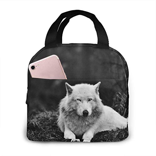 shenguang Wolf Wolves Black Lunch Bag Tote Reusable Insulated School Picnic Carrying Lunchbox Container Organizer for Women, Men, Adults, Kids, Girls, Boys