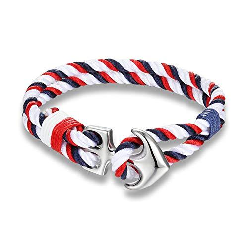 EXINOX Bracelet d'ancre Nautique | Homme Femme | Paillettes en Acier Inoxydable | Sea Sailor Style (Blanc, Rouge et Bleu)