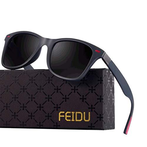 Polarized Sonnenbrillen Herren Vintage Style Sonnenbrillen Damen-Sport im Freien Golf Radfahren Angeln Wandern FD2150 (3-Grau rot, 60)