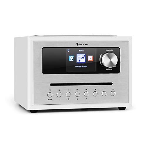 auna Silver Star CD Cube Radio - Radio con WiFi y Reproductor de CD , Microcadena , Radio FM , Bluetooth , 10 W , Pantalla HCC de 2,8  , AUX , Aplicación móvil , Madera , Mando a Distancia , Blanco