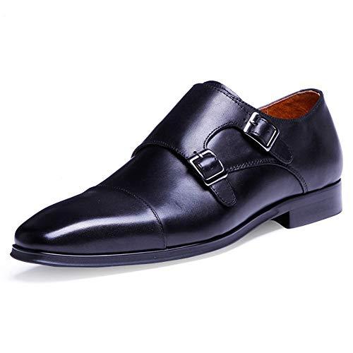 [RIBONGZ] ビジネスシューズ モンクストラップ メンズ 紳士靴 本革 革靴 ブラック3A 26.0 cm