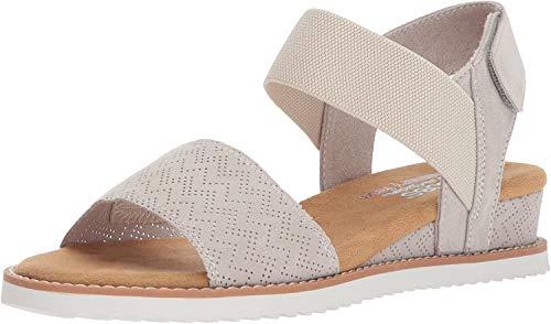Skechers BOBS Women's Desert Kiss Sandal, Off White, 7 M US