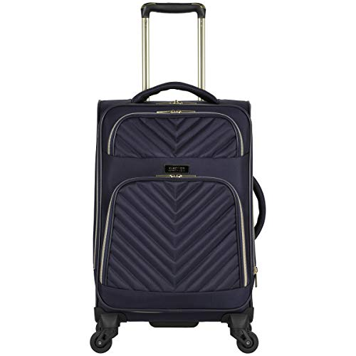 Kenneth Cole Reaction Women's Chelsea 20' Softside Chevron Quilted Expandable 4-Wheel Spinner Carry-On Suitcase, Navy