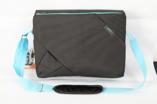Bipra Laptop Messenger Bag (15.6 Inch) Cute, Slim, Designer Shoulder Carry Tote | Computer, Tablet, Notebook, Mobile Storage | Padded, Adjustable Strap | Grey/Blue